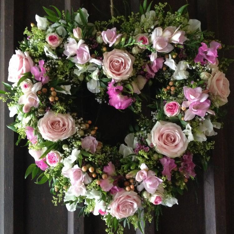 heart wreath on the church door
