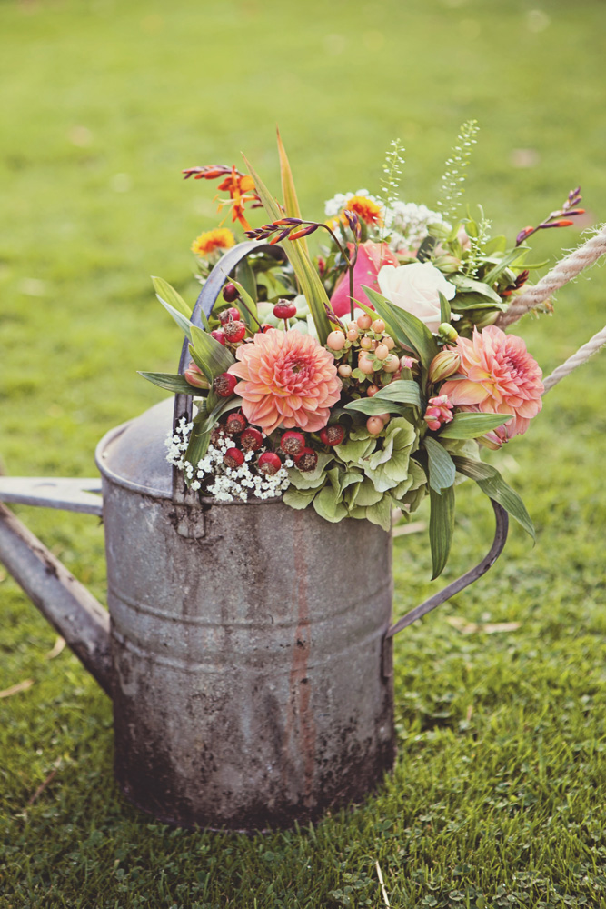 vintage watering can flowers