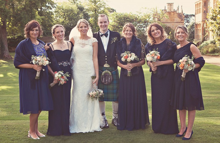 Bride, groom and bridesmaids at Stanway Wedding