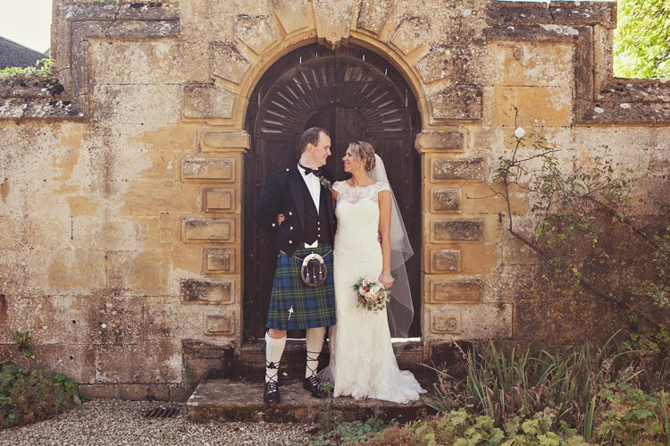 bride and groom at Stanway wedding
