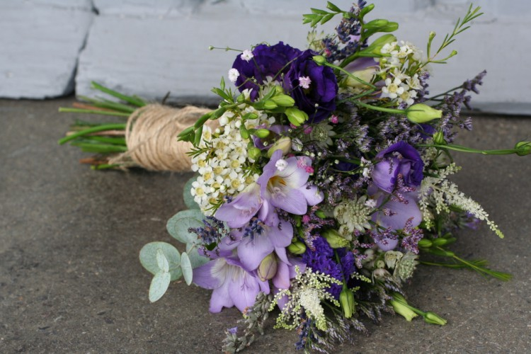 rustic purple and lavender bridesmaid bouquet
