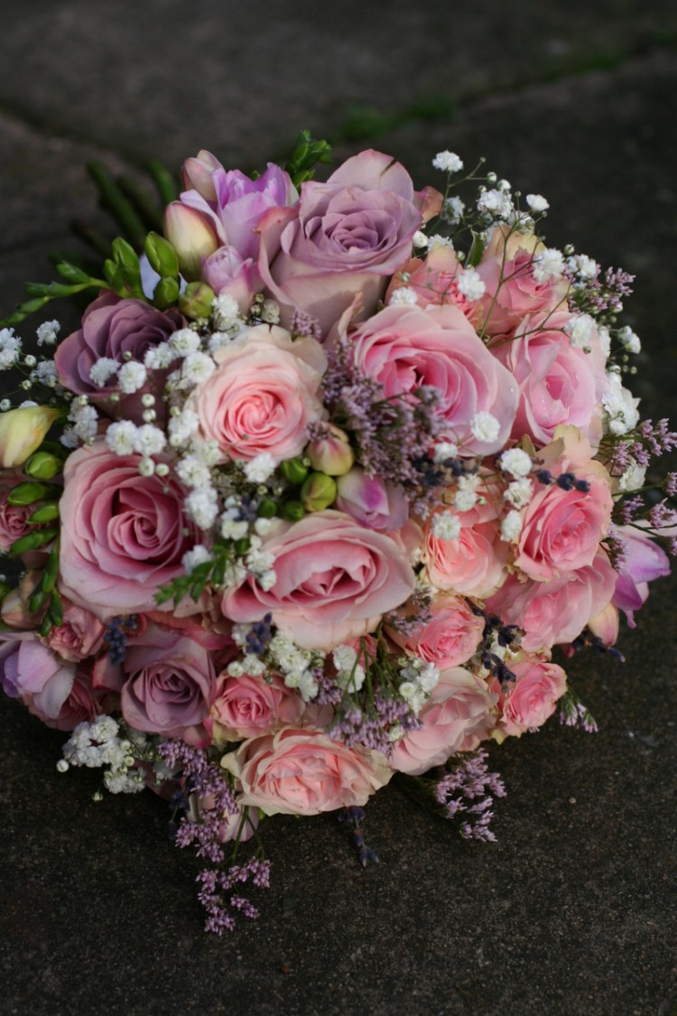 pink rose, freesia, gypsophila brides bouquet