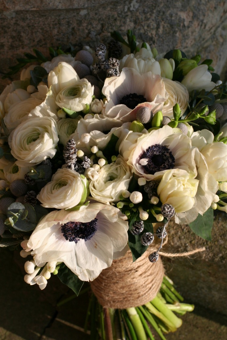 winter wedding bouquet with anemones