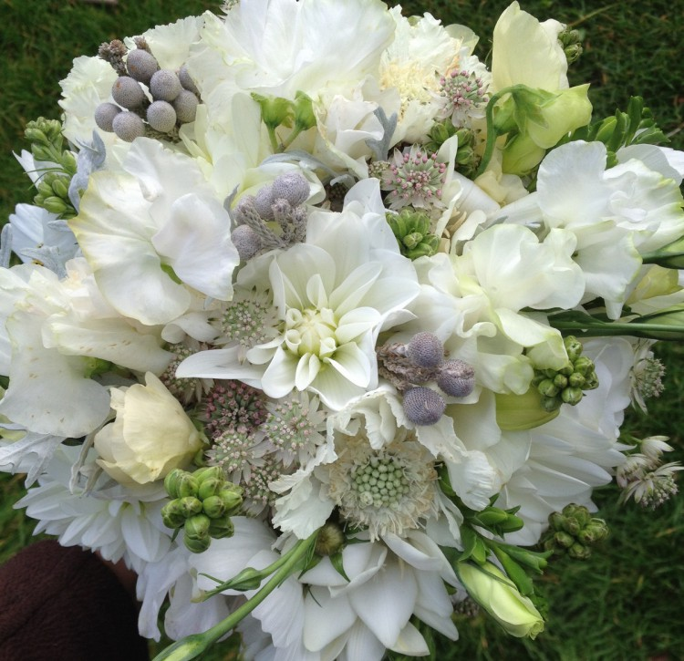white and silver brides bouquet