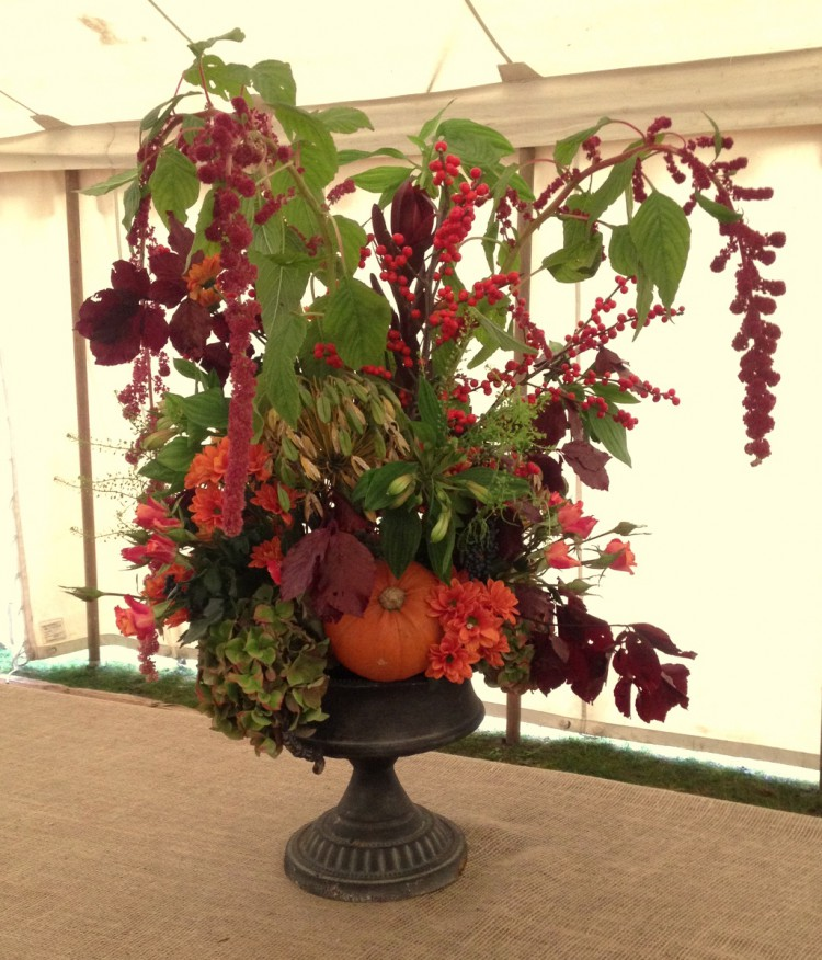autumn urn arrangement