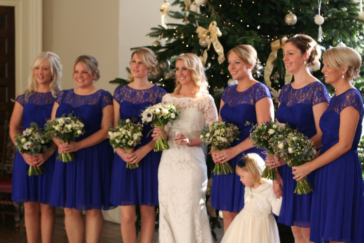 bride and bridesmaids at Elmore court