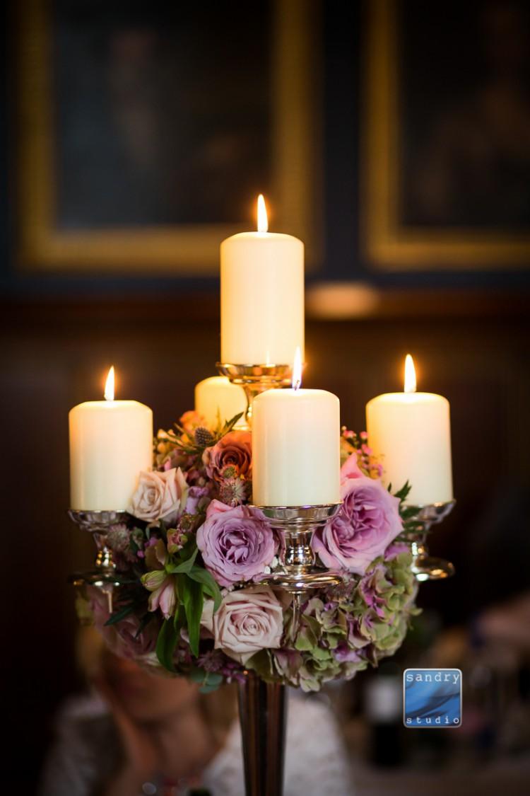 hydrangea and rose candelabra Image by Sandry Studio