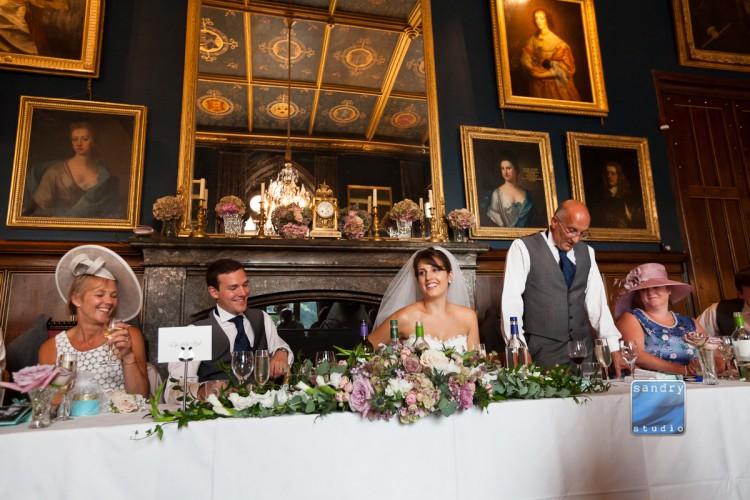 top table flower arrangement at Eastnor castle wedding