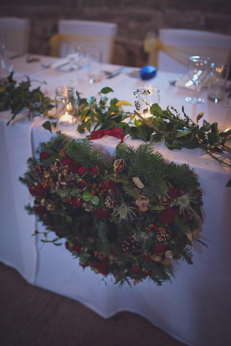 winter wedding heart wreath