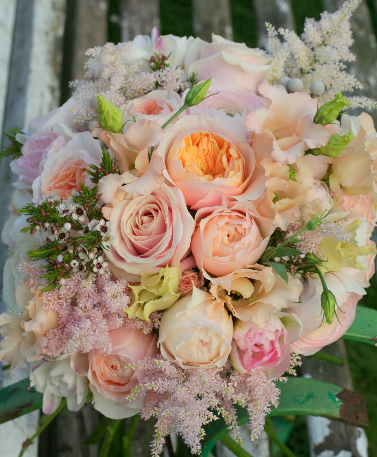 peach, cream and blush pink bridal bouquet by jenny Fleur