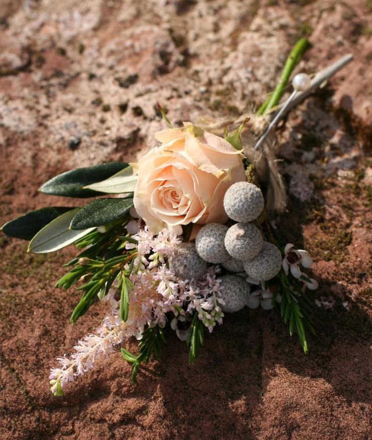 peach grooms buttonhole