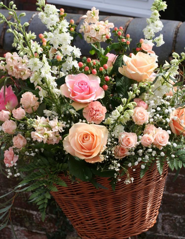 vintage bicycle basket with flowers