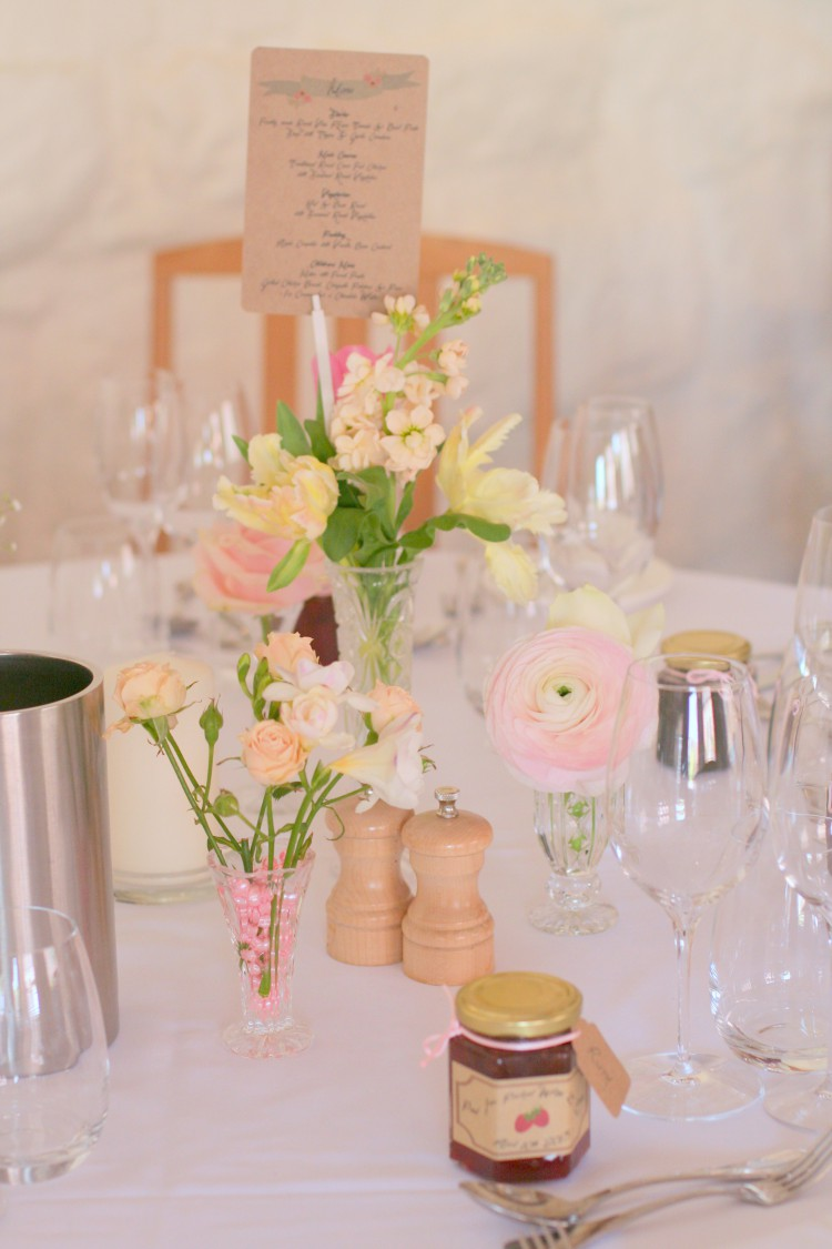peach cream and pink vintage table setting