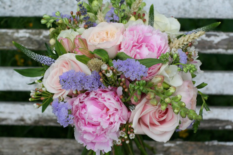 rose and peony bridesmaid bouquet