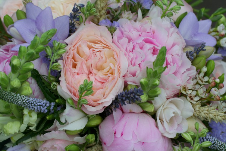 rose, peony and country flowers brides bouquet