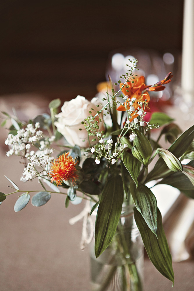 Rustic Autumn Wedding Flowers In Jam Jar