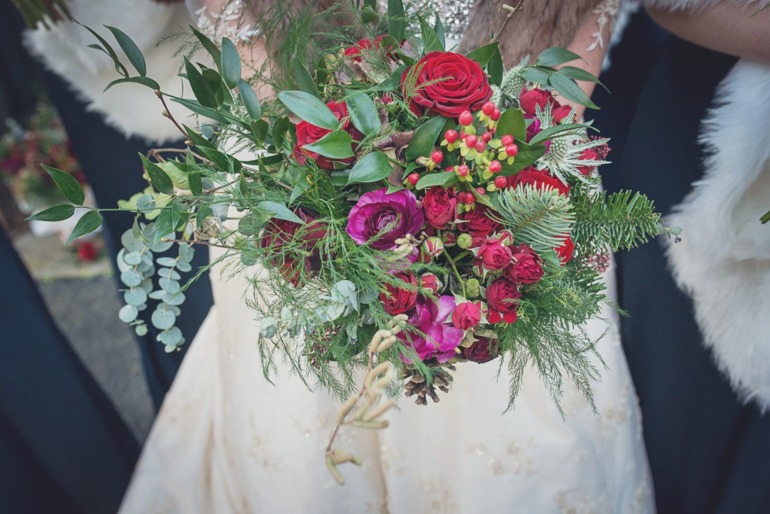 rustic winter wedding bridal bouquet