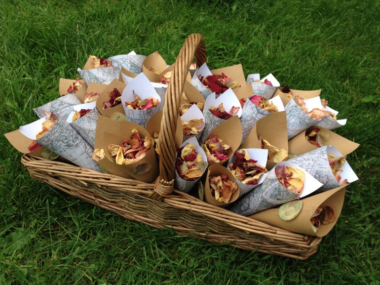 homemade real flower petal confetti in wicker basket