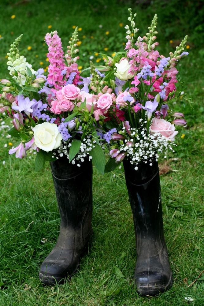 flowers in welly boot