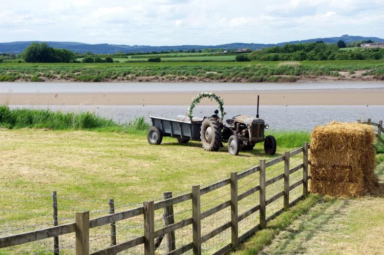 vintage tractor wedding transport