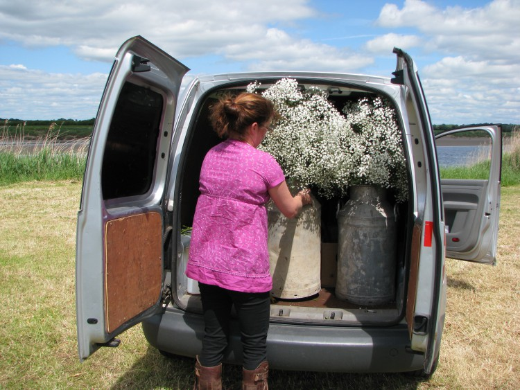 unloading wedding flowers