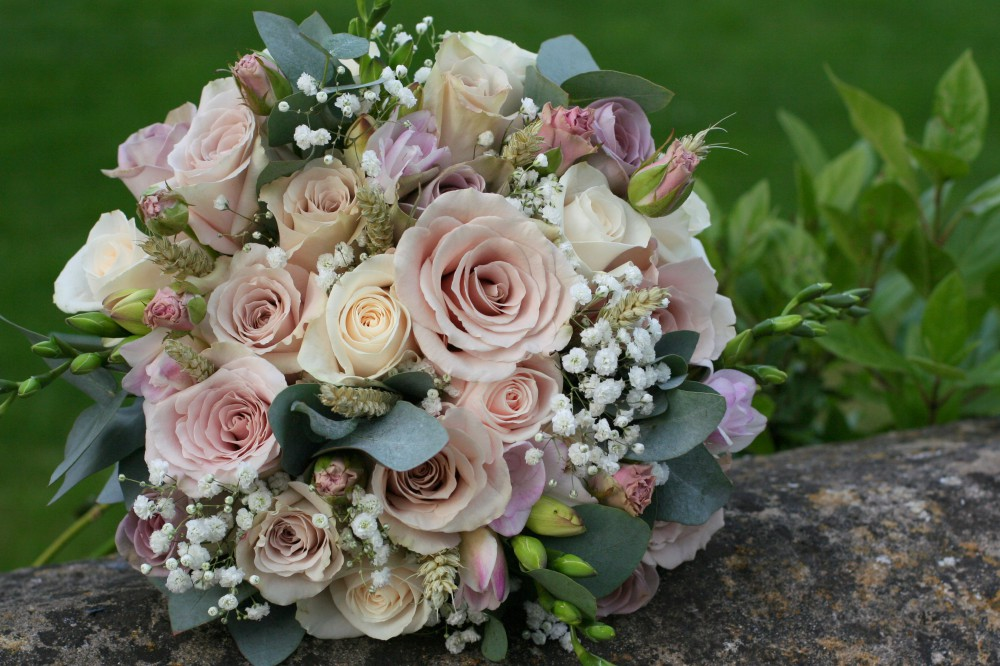 vintage blush rose brides bouquet