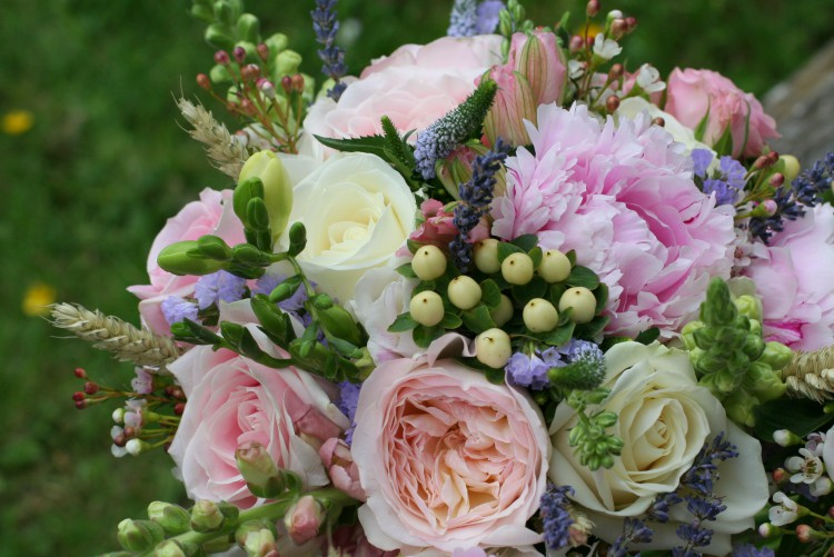 pink and lilac rose and peony country bouquet