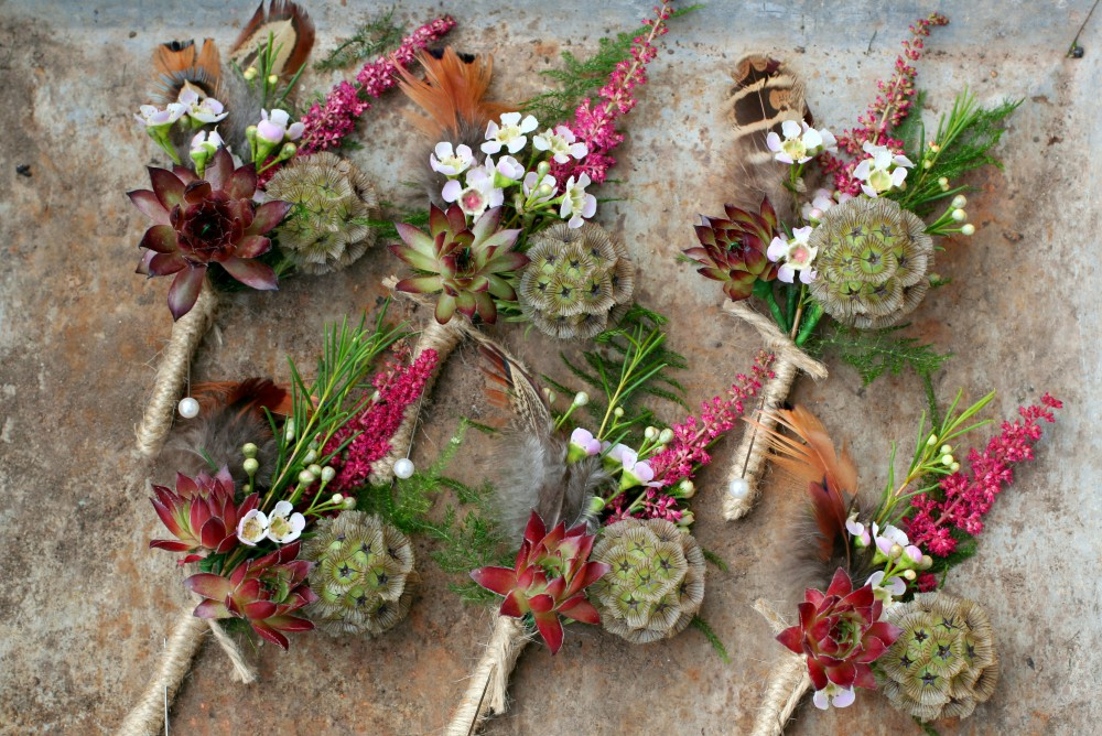 rustic bouttonieres