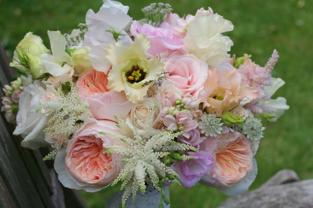 soft peach bridal bouquet with 'Juliet' David Austin Roses