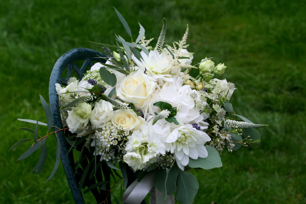 natural white and green brides bouquet