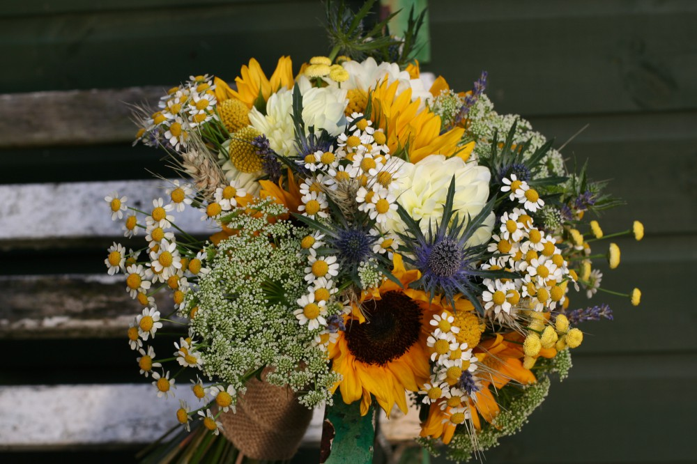 sunflower, daisy and thistle bride bouquet