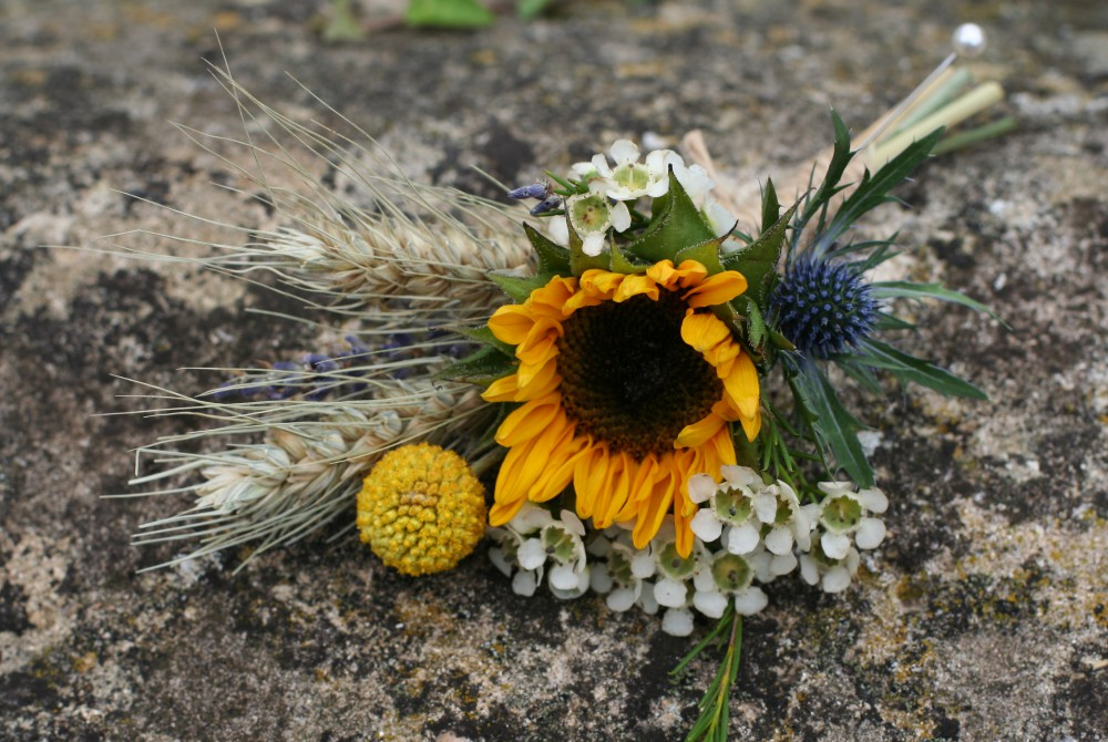 sunflower, thistle and wheat buttonhole