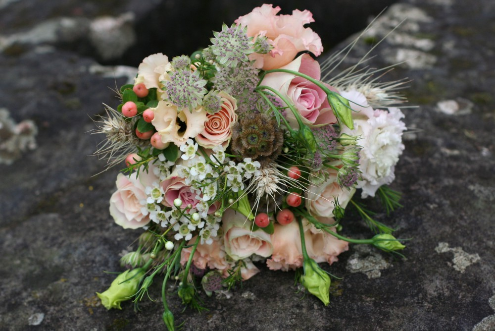 peach flower girl posy