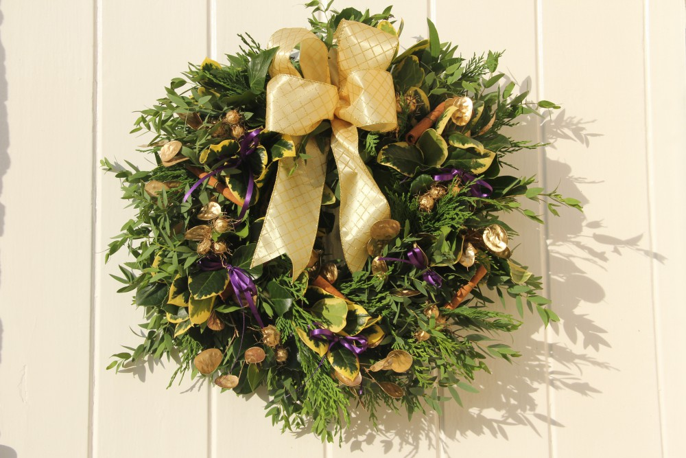 gold and purple Christmas wreath