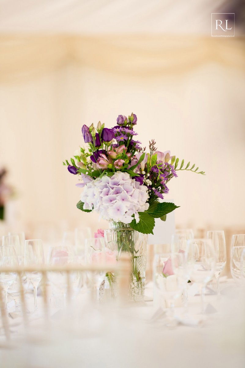 pink and purple wedding flowers at Homme House