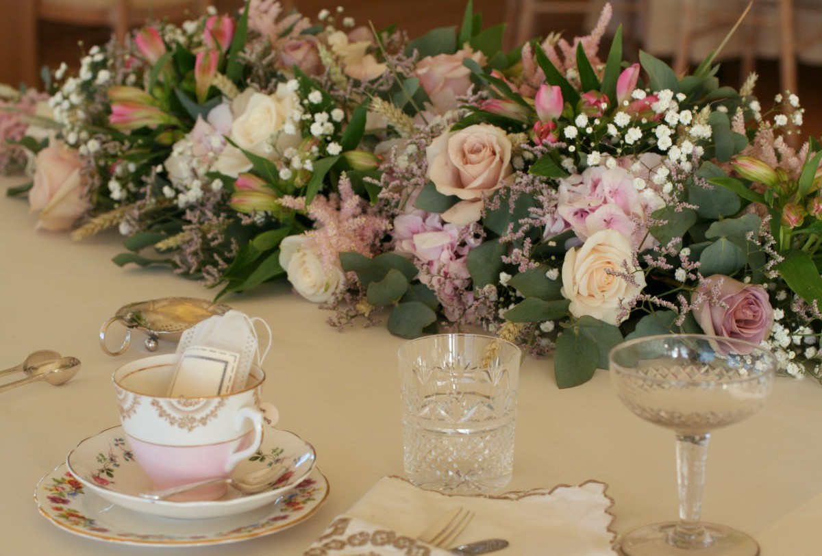 vintage tea party top table arrangement
