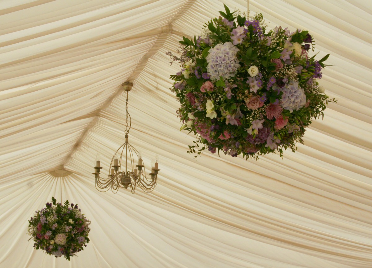 Hanging ball of flowers