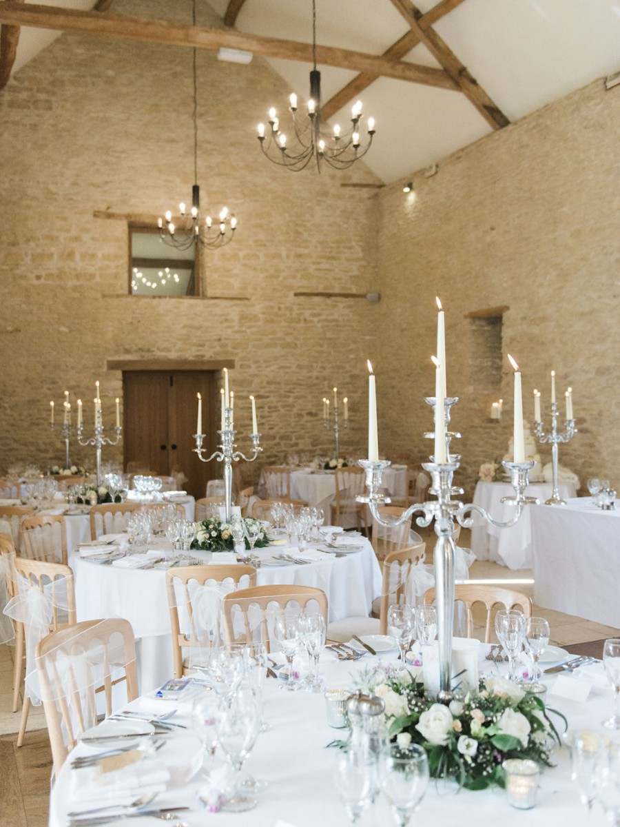 candelabra wreath tablecentre at Kingscote barn