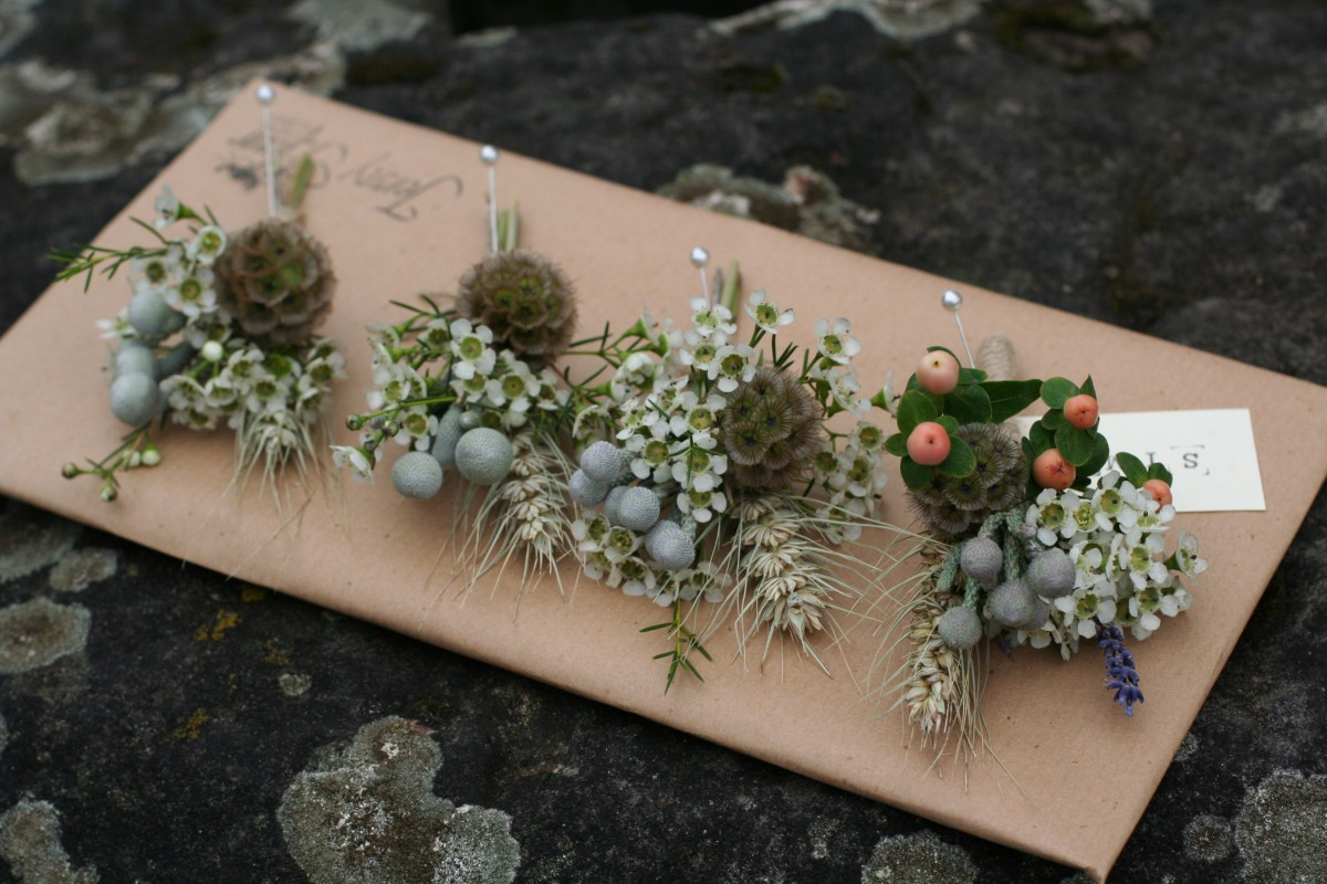 rustic buttonholes for a tipi wedding