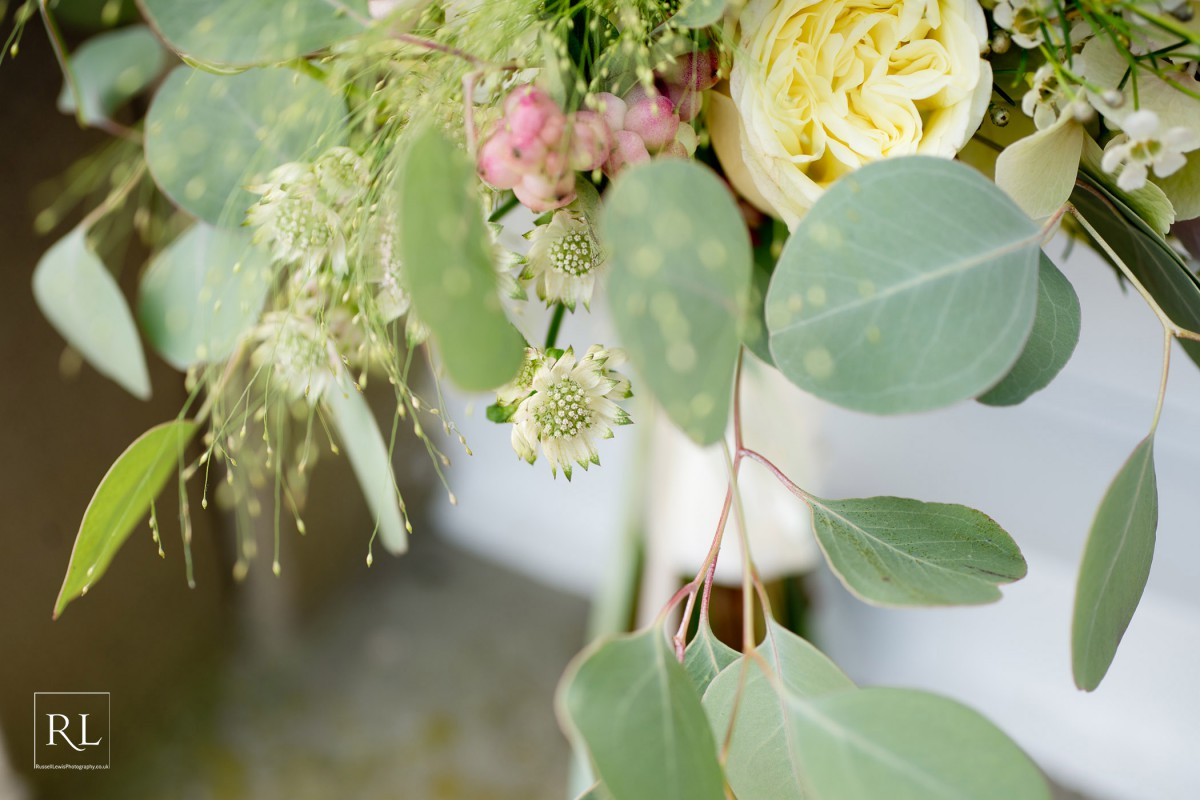 soft cream and blush brides bouquet for wedding at Homme House