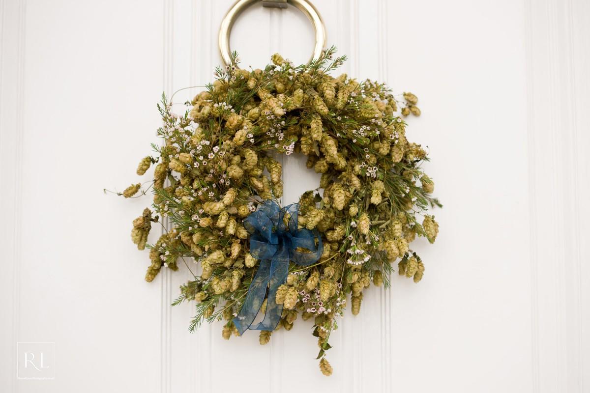 hop door wreath at Homme House