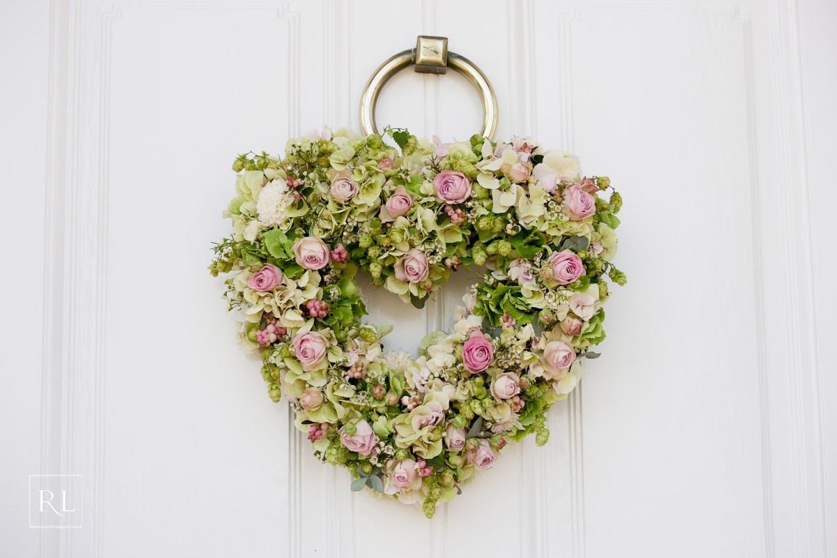 heart wreath for front door at Homme House
