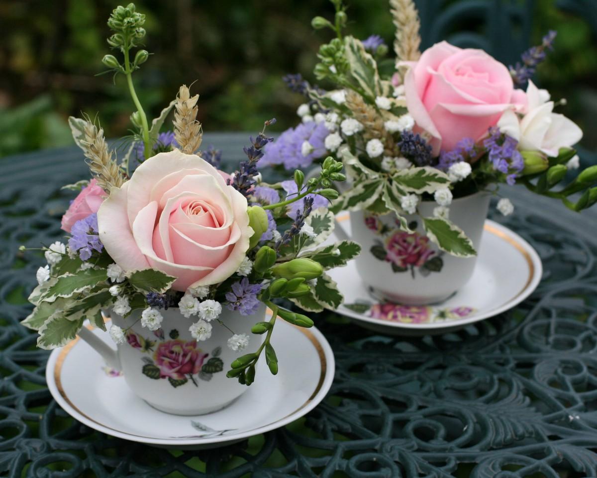 flowers in vintage tea cups