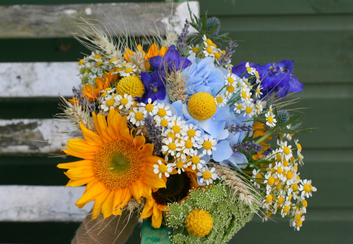 sunflower yellow and blue bridesmaids bouquet