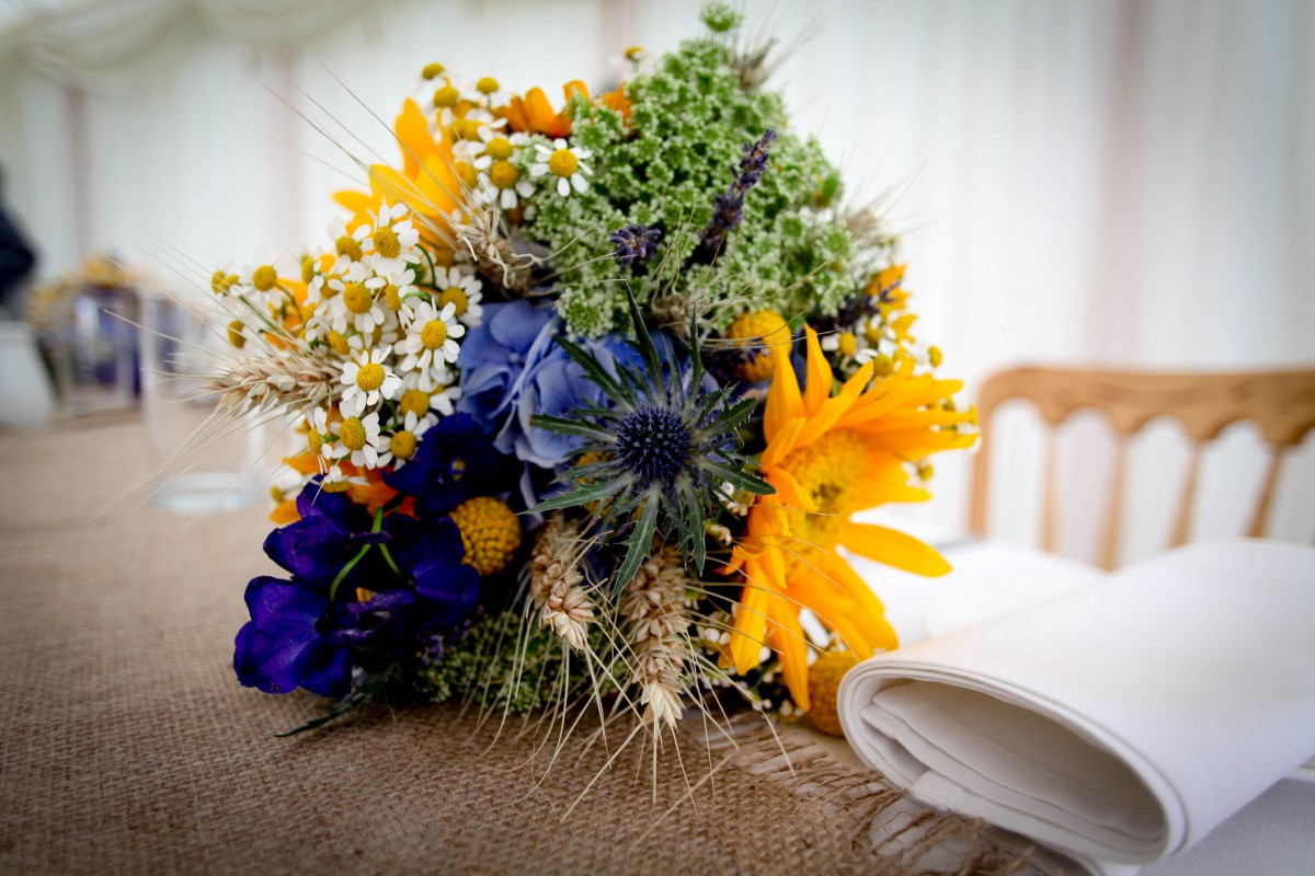 bridesmaids bouquet with sunflowers