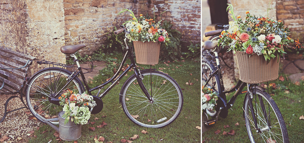 bicycle basket with Autumn flowers for a rustic vintage wedding