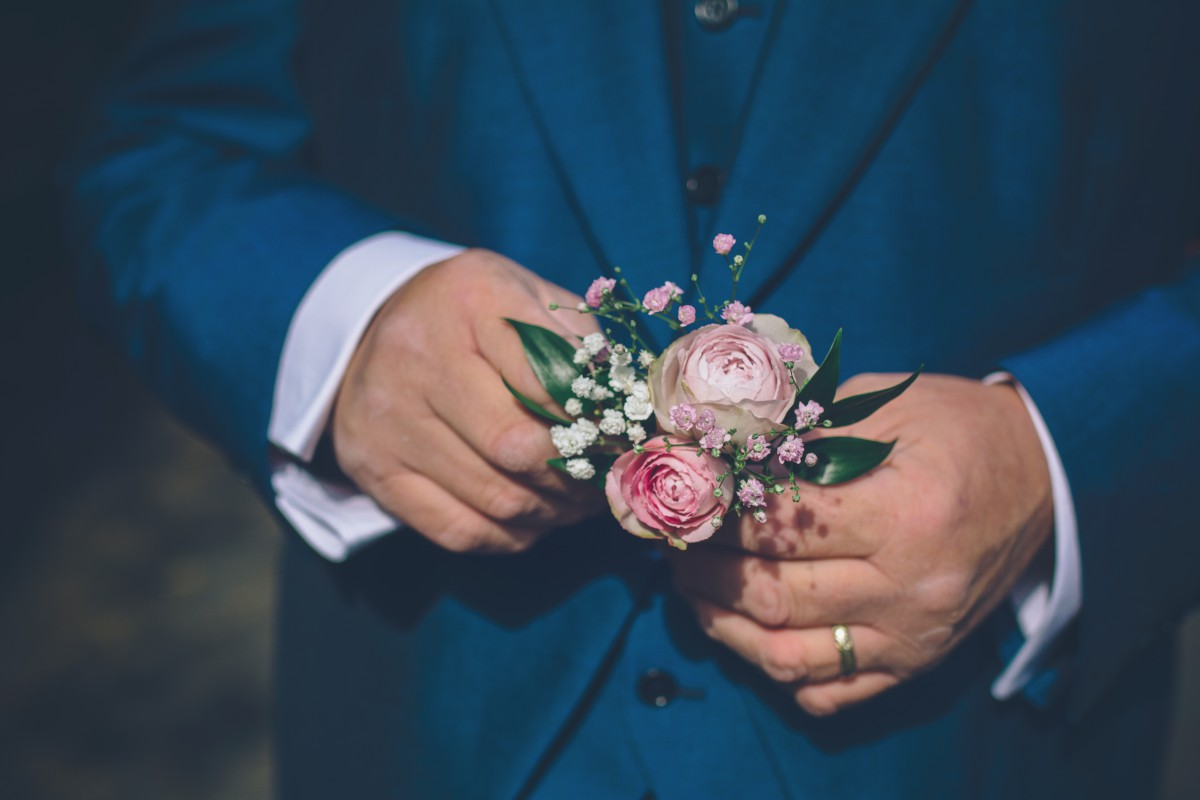 grooms rose buttonhole