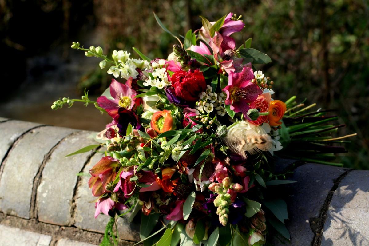 brightly coloured spring brides bouquet
