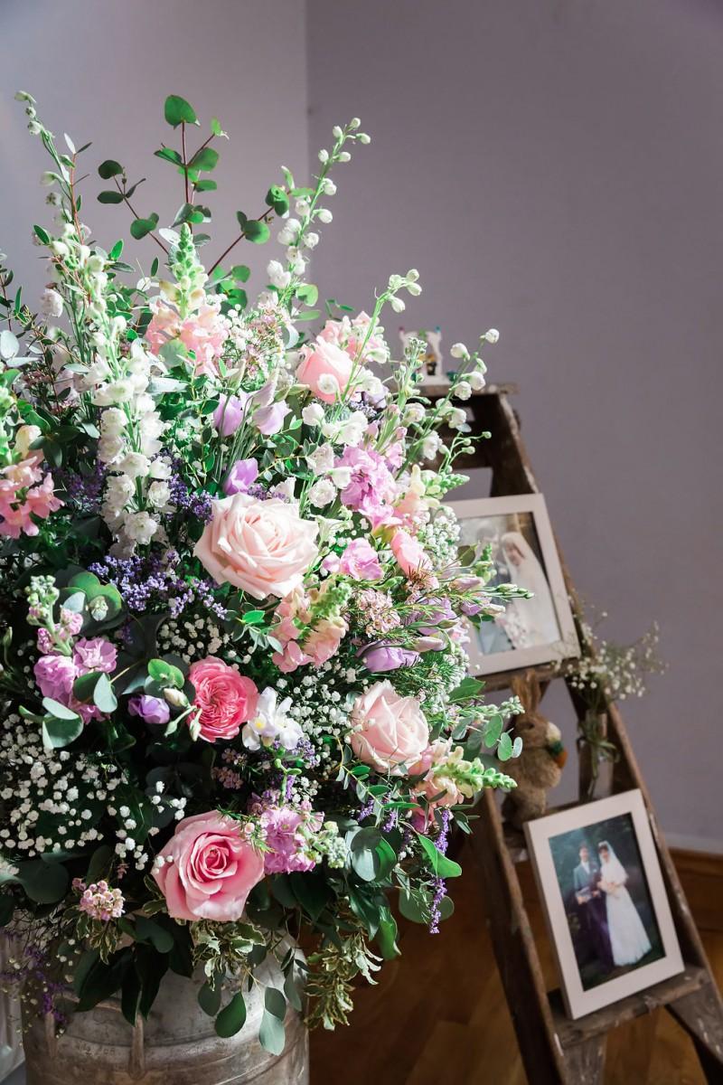 pastel vintage milk churn flowers