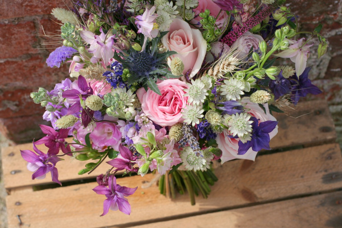 rustic brides bouquet for a spring wedding at Lyde Court